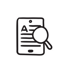 tablet and magnifying glass sketch icon vector image