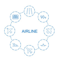 8 airline icons vector
