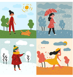 a girl and four seasons and weather snowy rainy vector image