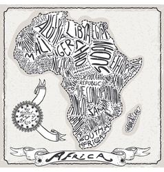 Africa Map on Vintage Handwriting Page vector image