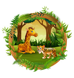animals are playing together vector image
