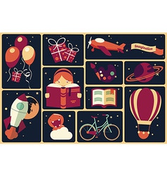 Background with imagination items vector image