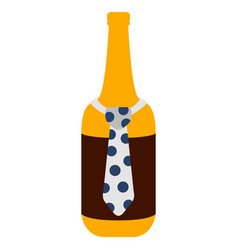 beer bottle with a necktie icon vector image