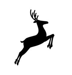 Black profile silhouette of jumping reindeer vector