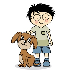 Boy with his dog vector