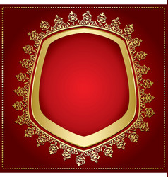 Bright red background with gold frame vector