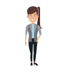 business woman standing cartoon employee vector image