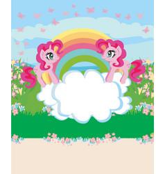 card with a cute unicorns rainbow and flowery vector image