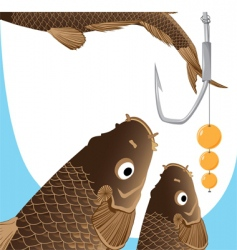 Carp and hook vector