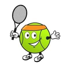 Cartoon tennis ball with racket vector