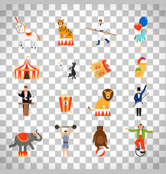 Circus flat icons on transparent background vector
