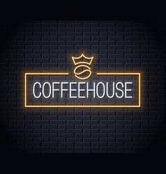 Coffee bean neon logo neon coffee sign vector