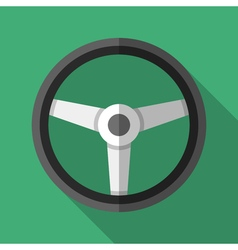 Colorful steering wheel icon in modern flat style vector image