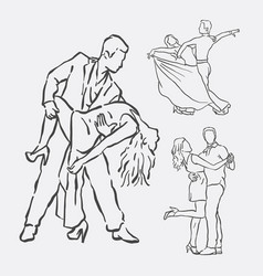 couple dancing hand drawn style vector image