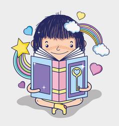 cute girl reading a book vector image