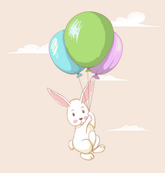 Cute hare flying with balloons vector