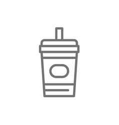 Disposable cup with drink takeaway line icon vector