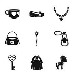 doll princess icon set simple style vector image