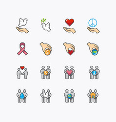 donation and charity icons flat line design vector image
