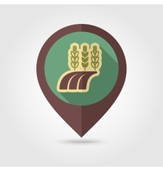 Ears of Wheat Barley Field flat mapping pin icon vector image