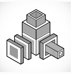 engineering abstract shape polygonal figure vector image