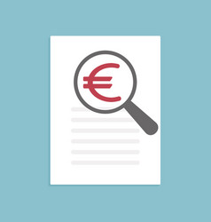 euro icon magnifying glass vector image