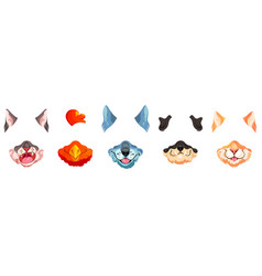 face filter with animal masks for video chat vector image
