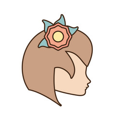 Female face profile character with flower vector