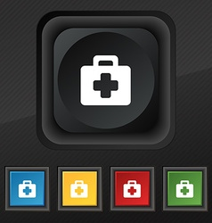 first aid kit icon symbol Set of five colorful vector image vector image