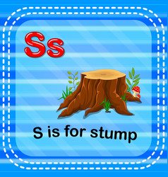 Flashcard letter s is for stump vector