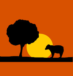 Forest night moon - bear and tree silhouettes vector