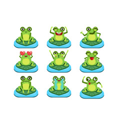 frogs sitting on leaf characters set vector image