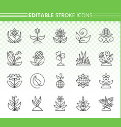 garden simple black line icons set vector image
