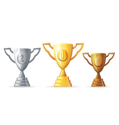 gold silver copper victory award cup prize vector image