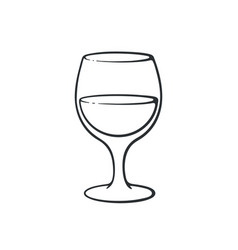 Hand drawn doodle a glass with wine vector
