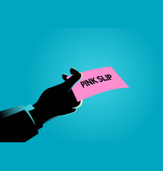Hand giving a pink slip vector