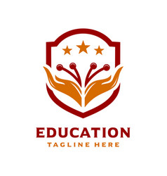 hand shield logo education vector image