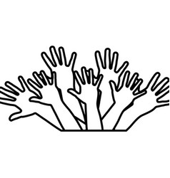 Hands up together icon vector