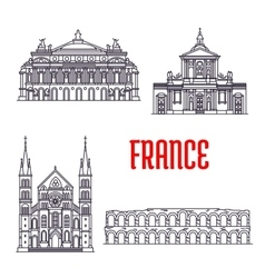 Historic buildings and sightseeings of France vector image