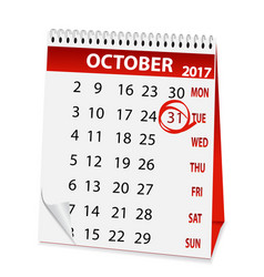 icon calendar for halloween 2017 vector image