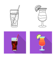 Isolated object of drink and bar sign set of vector