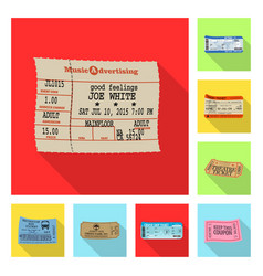 Isolated object of ticket and admission logo set vector