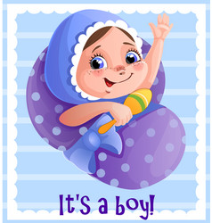 It s a boy greeting cart template for vector