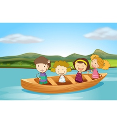 Kids on a boat vector