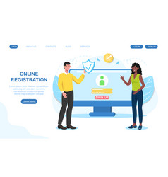 Male and female characters are registrating vector