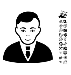 Manager Icon With Flying Drone Tools Bonus vector