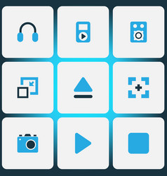 media icons colored set with headphone minimize vector image