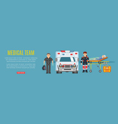 medical team ambulance doctors paramedics vector image