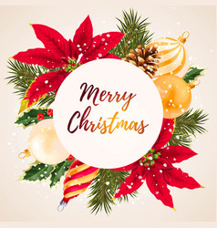 merry christmas greeting postcard vector image