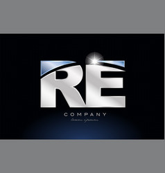 Metal blue alphabet letter re r e logo company vector